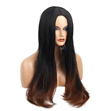 Amazon.com : Huphoon Full Wigs Long Fluffy Straight Front Bangs Gray Gradient Color Natural Curly Syntheic Fiber Hair (A) : Beauty
