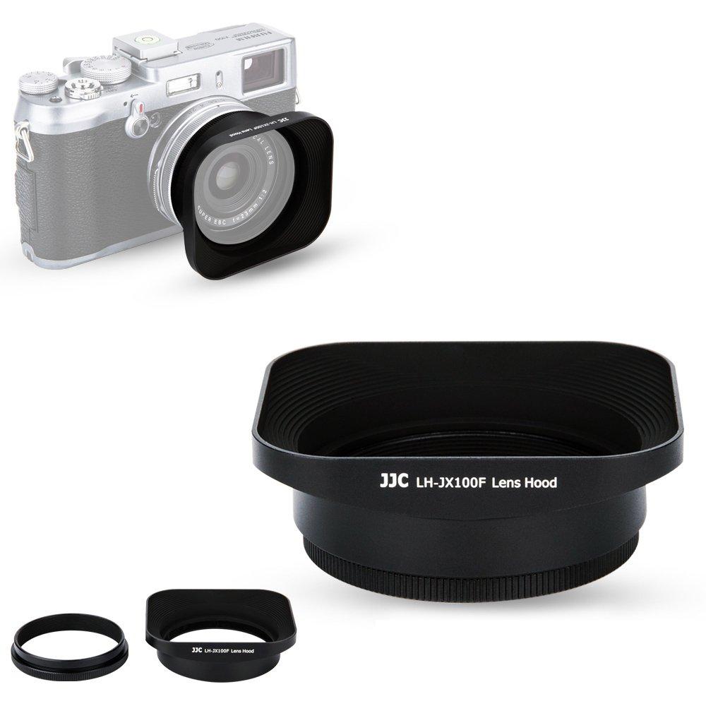 JJC Reversible Metal Lens Hood for Fuji Fujifilm FinePix X100F, X100T, X100S, X100 Digital Camera, Black Color, with a 49mm Filter Thread Adapter Ring