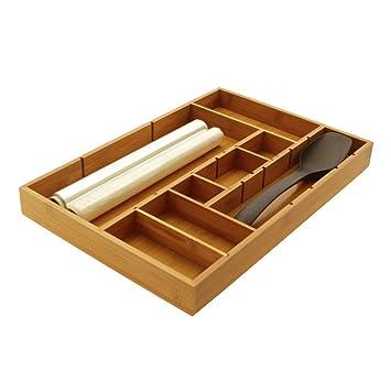 Bambú Organizador de Cajones ajustable, Bandeja de Cajón de Cocina, para Cubiertos 44.5 x