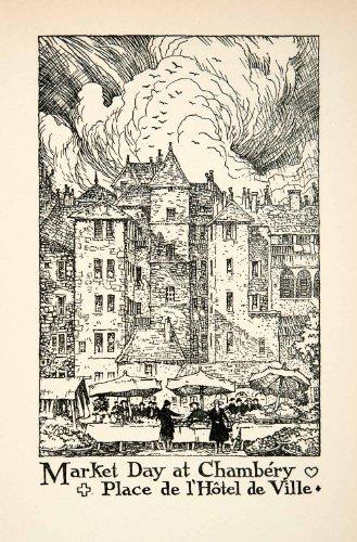 1927 Lithograph Place de l'Hotel Ville Chambery France Cityscape Thornton Oakley - Original In-Text - Hotel Oakley