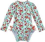 dPois Baby Girls' One-Piece Swimwear Floral Long Sleeve Rash Guard Swimsuit Shirt Bathing Suit UPF 50+ Sun