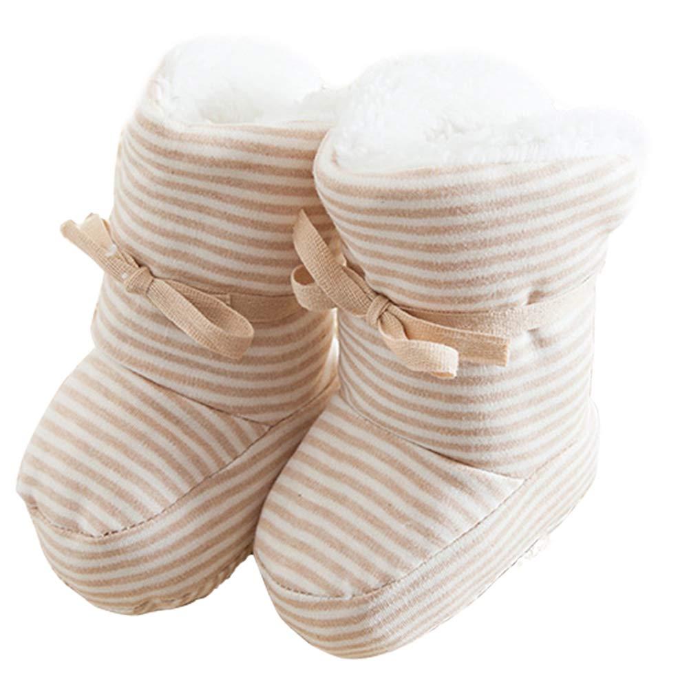 DENTRUN Unisex-Baby Infant Boys Girls Cozy Fleece Booties Toddle Crib Shoes Winter Brown