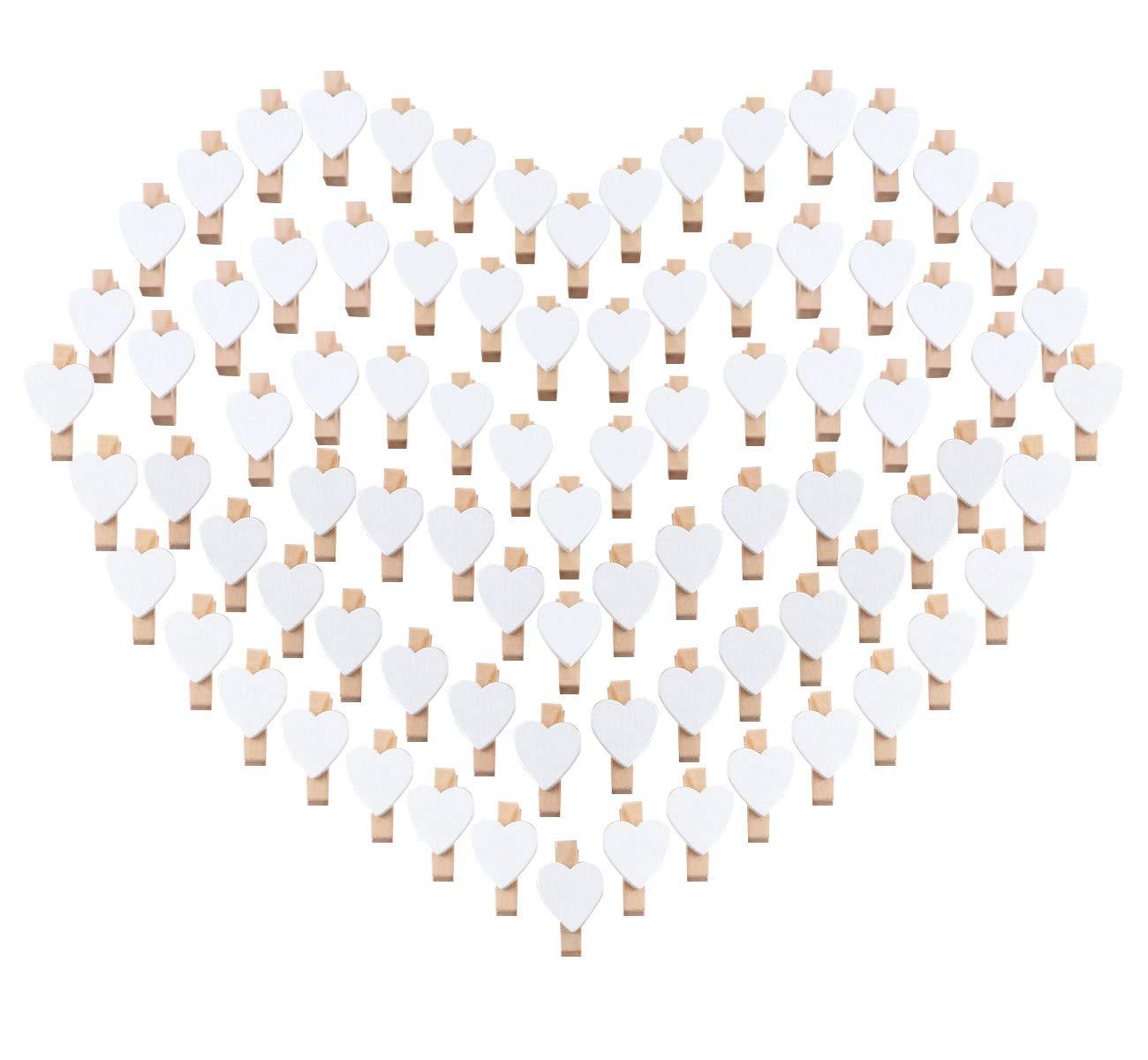 100pcs Pinzas de Madera con Coraz/ón 3.5cm Adorno de Fotos Absofine para Celebraci/ón Boda Papel Fotogr/áfico Clips de Artesan/ía Ropa Blanca