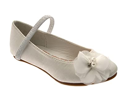 GIRLS KIDS CHILDRENS SATIN FLOWER WEDDING BRIDAL BRIDESMAID IVORY CREAM SHOES SANDALS 10