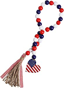 Soplus Wood Bead Garland with American Flag and Rustic Tassels, Farmhouse Wall Hanging Prayer Beads Patriotic American Independence Day 4th of July Ornaments for Home Decor