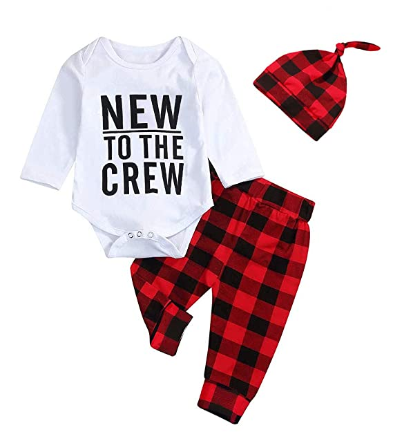 140e42236 Newborn Baby Boy Girl Outfits to The Crew Print Romper Long Sleeve Top+ Plaid  Pants +