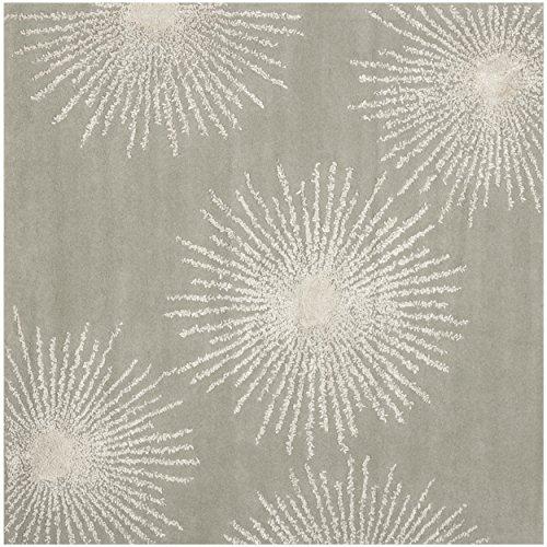 Safavieh Soho Collection SOH712K Handmade Starburst Grey and Ivory Premium Wool Square Area Rug (6' Square) - Ivory Canvas Rug