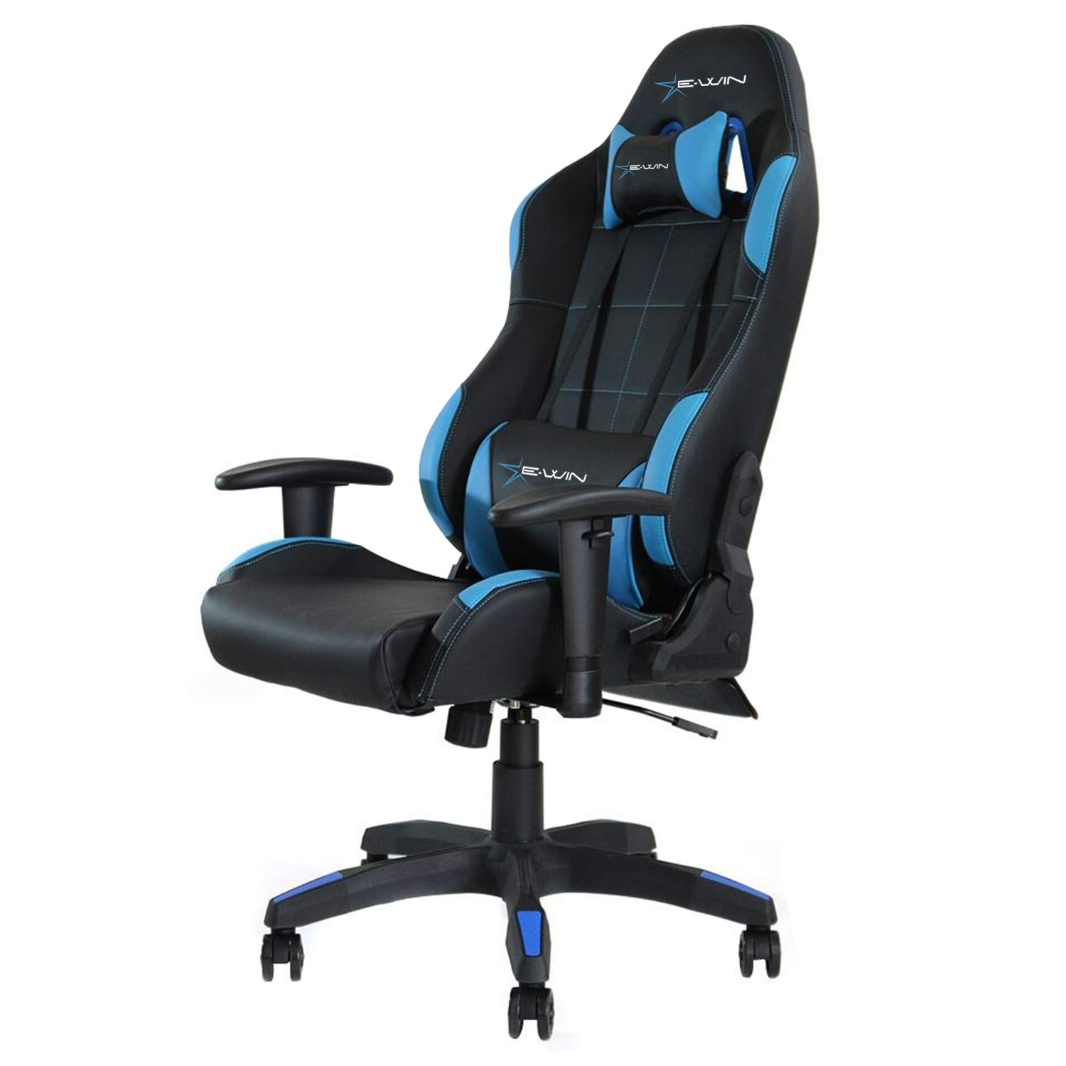 E-WIN Gaming Chair Ergonomic High Back PU Leather Racing Style with Adjustable Armrest and Back Recliner Swivel Rocker Office Chair Black Blue