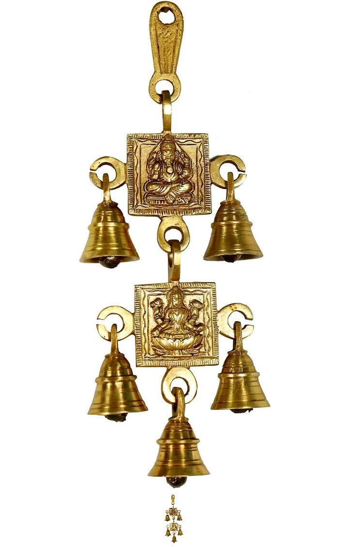 Wall Hanging Decor Ganesh Laxmi Wall Hanging with Five Bells Diwali Decorative Showpiece Home Decor Items (Brass, Gold)