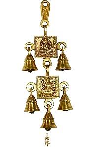 Wall Hanging Decor Ganesh Laxmi Wall Hanging with Five Bells Diwali Decorative Showpiece Home Decor Items (Brass, Gold)