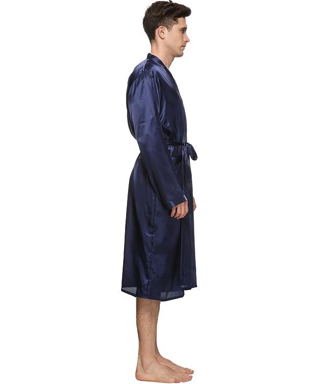Bata para hombre, diseño ligero y largo, satinado.: Amazon.es: Ropa y accesorios