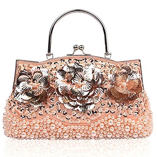 for Handbags Clutch for Champagne Fully Style Bags Mesh weddings Antique Women Sequined tfnxSqwT