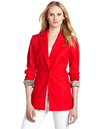 Kenneth Cole New York Women's Petite Structural Suit Jacket, Red Coral, Petite X-Small
