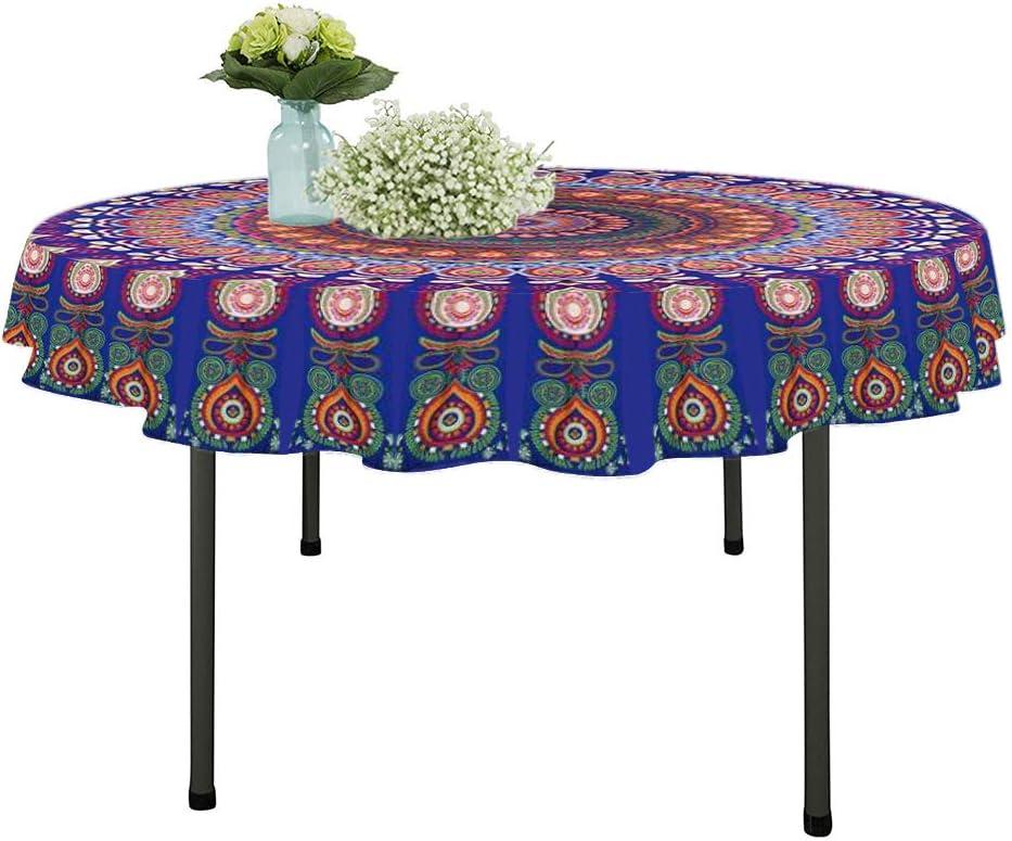 Resulzon Bohemian Style Tassels Hawaii Sunproof Round Beach Throw Tapestry Hippy Boho Gypsy Tablecloth Beach Shawl (60 Inches, Dark blue)