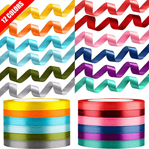 12 Color 300 Yard Total Satin Ribbon, Tomorotec Silk Satin Rolls for Gift Package Wrapping Bows Crafts Gifts Party Wedding