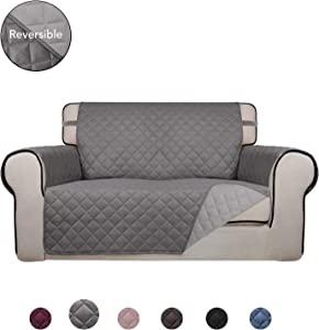 PureFit Reversible Quilted Sofa Cover, Water Resistant Slipcover Furniture Protector, Washable Couch Cover with Anti-Slip Foam and Elastic Straps for Kids, Dogs, Pets (Loveseat, Gray/LightGray)