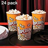 Popcorn Cups - Pack Of 24 - Disposable Popcorn Paper Cups - Great For The Movies, Food Kiosk, Food Stand, Ice Cream Truck And Shop, Carnivals, Street Fairs Etc. – By Kidsco