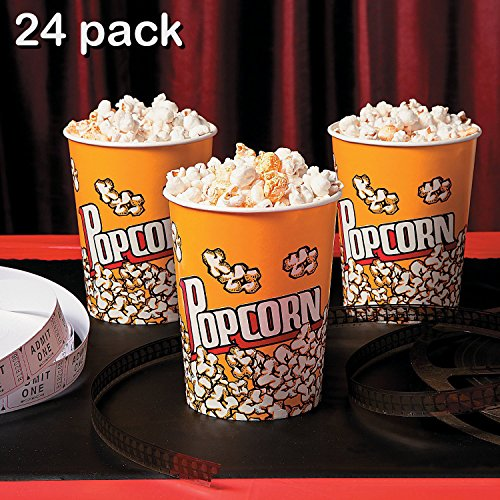 Paper Food Buckets (Popcorn Cups - Pack Of 24 - Disposable Popcorn Paper Cups - Great For The Movies, Food Kiosk, Food Stand, Ice Cream Truck And Shop, Carnivals, Street Fairs Etc. – By Kidsco)