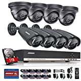 [Upgraded 720P]Annke 1000GB HDD AHD Security Camera Sysetm w/ 8CH 720P Digital Video Recorder and 8 HD 1280720P In/Outdoor CCTV Cameras, Motion Detection, IP66 Weatherproof (Dome+Bullet Camera-1TB HDD)