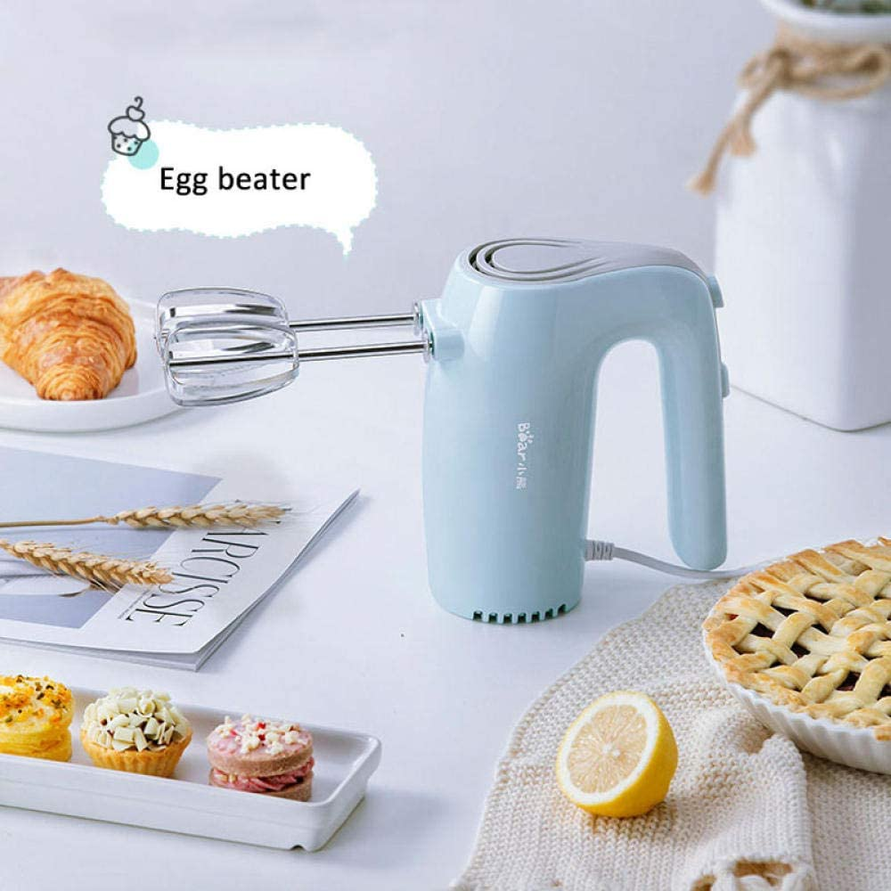 Frullatore elettrico multifunzione portatile Frullatore per panna doppia frusta per uova Robot da cucina per dolci-Blu Beige