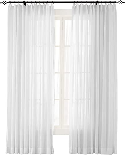 ChadMade Indoor Outdoor Solid Sheer Curtain Pinch Pleated White 200 W X 102 L Wide Opulent Voile Drapes 1 Panel