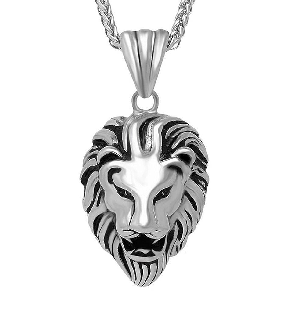 Fengteng Collier Avec Pendentif Retro Lion Tête Personalized Titane Acier