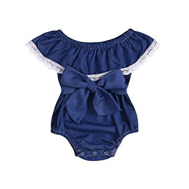 dc249ff87 Amazon.com  Toddler Newborn Baby Girls Jumpsuit Off Shouler Bowknot ...