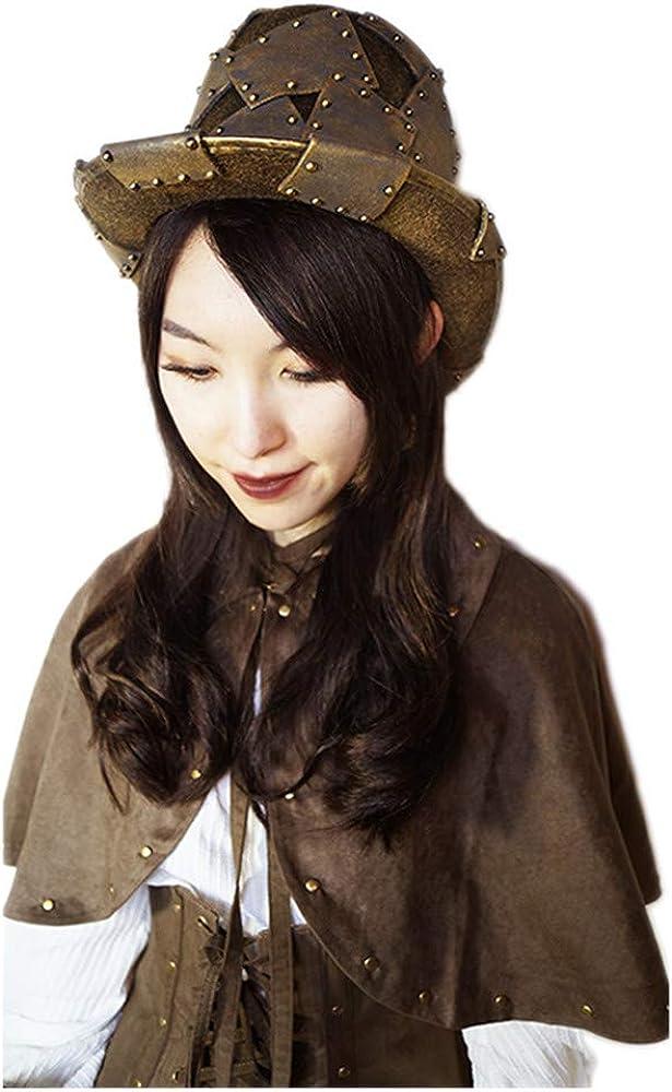 rock g/ótico altura 17 cm bronce vikingo unisex punk para un contorno de cabeza 56//60 cm Sombrero para hombre o mujer estilo steampunk talla /única Black Sugar