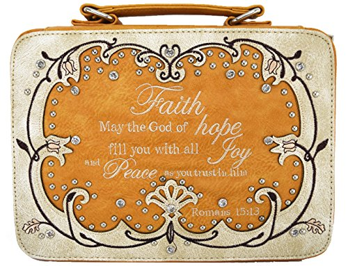 - Western Style Embroidered Scripture Bible Cover Angel Wings Rhinestone Cross Extra Strap Messenger Bag (Scripture Beige)