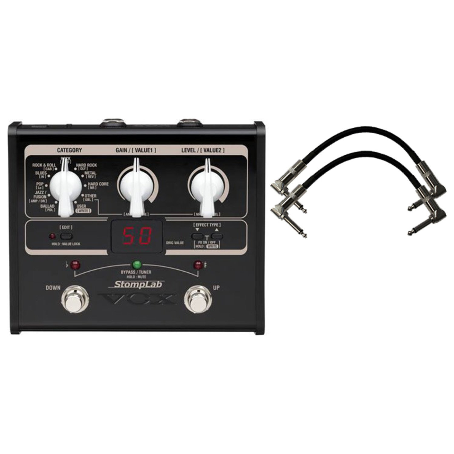 Vox Stomplab1G Guitar Effects Pedal w/(2) 6'' Patch Cables by Vox