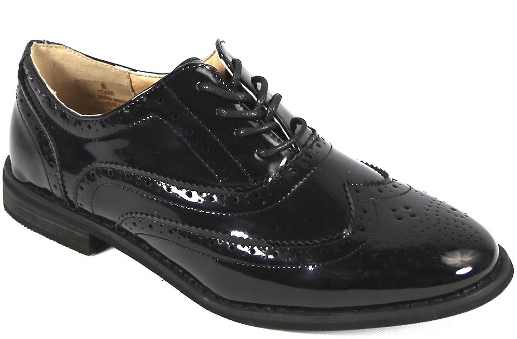 Bucco Oxee Womens Fashion Vegan Leather Oxford Shoes, Black Patent, Size 9, US
