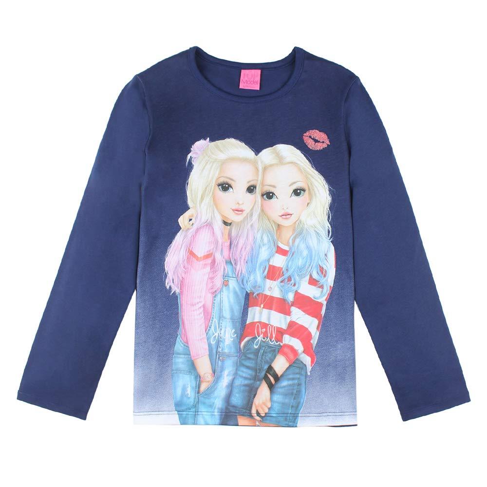 Manches Longue Bleu Top Model Filles T-Shirt