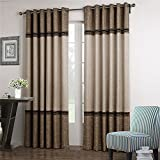 Cheap Dreaming Casa 1 Panel Grommet Top Solid Polyester Window Curtain Treatment Beige&Brown Two Tone 52″ W x 84″ L