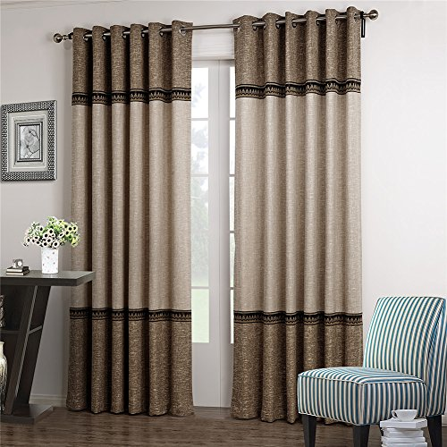 Dreaming Casa 1 Panel Grommet Top Solid Polyester Window Curtain Treatment Beige&Brown Two Tone 42