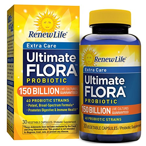 Renew Life Adult Probiotic - Ultimate Flora Extra Care, Probiotic Supplement - 150 Billion, 30 Vegetable Capsules (Packaging May Vary) ()