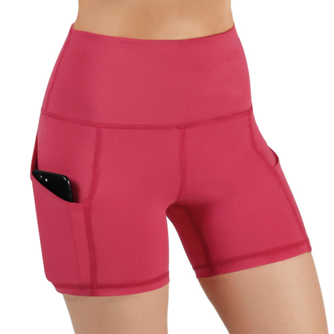 ODODOS High Waist Out Pocket Yoga Short Tummy Control Workout Running Athletic Non See-Through Yoga Shorts,Coral,X-Small