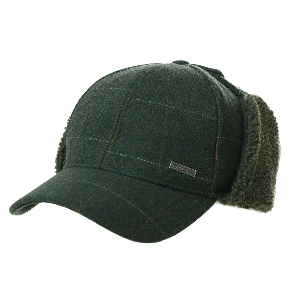 Womens Winter Tweed Fitted 62% Wool Earflap Baseball Cap Dad Elmer Fudd Hat for Men Army Green