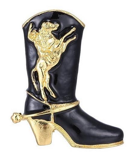 Générique Broche Motif Botte de Country, Cow Boy Noir et doré avec Motif Cheval rodéo.