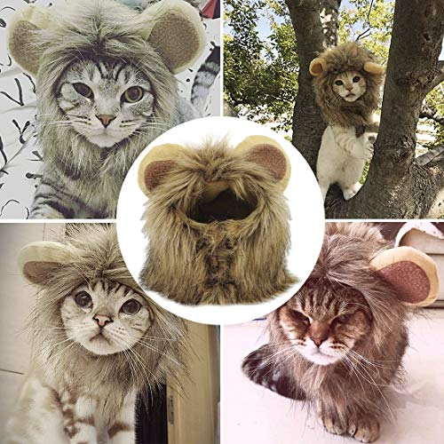 Halloween Hats For Cats (YAWALL Pet Costume Cosplay Lion Mane Wig Cap Hat for Cat Halloween Xmas Clothes Fancy Dress with Ears Autumn)