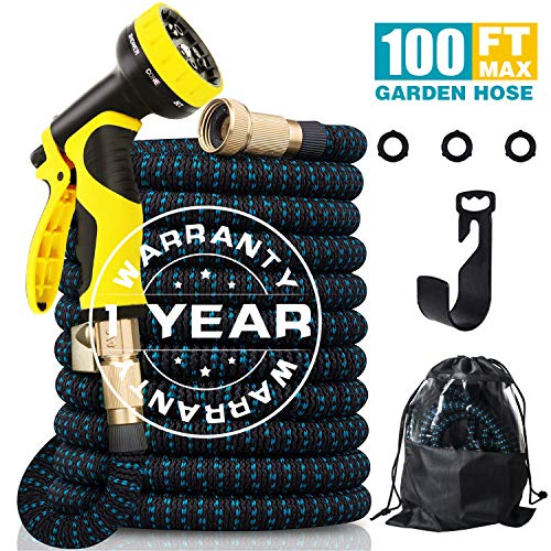 100FT Expandable Garden Water Hose, 9 Function Spray Nozzle & Double Latex Core 3/4″ Solid Brass Fittings, Extra Strength/No-Kink/Lightweight/Durable/Flexible Garden Hose for All Your Watering Needs