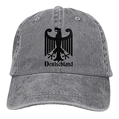 Deutschland German Unisex Denim Baseball Cap Adjustable Strap Low Profile Plain Hats Outdoor Casquette Snapback Hats Ash by BHUIA