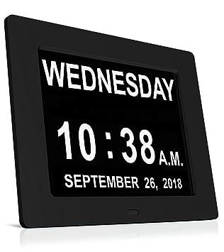Reloj despertador digital, Heqiao Demencia de Alzheimer reloj de pared Reloj de pared Memoria Día de la pérdida Relojes de calendario electrónicos: ...