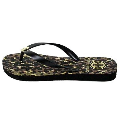 600a7f1ab689 Tory Burch Leopard Animal Print Flip Flops Sandals Wildlife Black Size 8