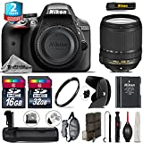 Holiday Saving Bundle for D3300 DSLR Camera + 18-140mm VR Lens + Battery Grip + 2yr Extended Warranty + 32GB Class 10 Memory + Backup Battery + 16GB Class 10 + Wrist Strap - International Version