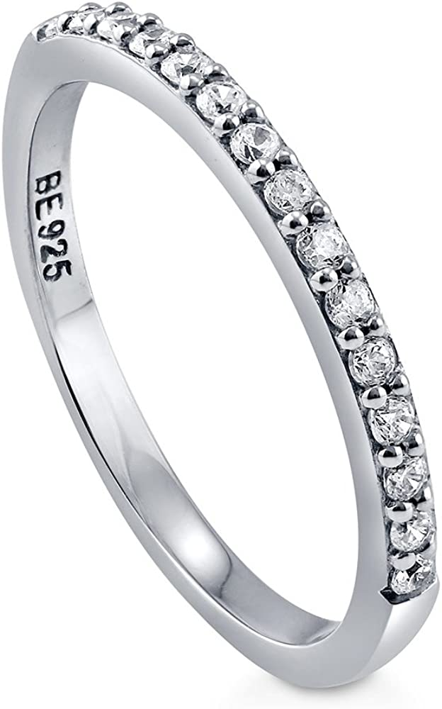 Eternity cubic zirconia ring Rhodium plated Sterling silver