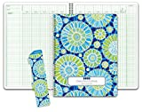 Class Record Book for 9-10 Weeks. 50 Names R1010 (Blue Green Flowers)