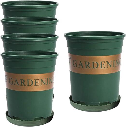 Maceta de plástico para jardín de 1 galón, 5 unidades, macetas de plástico duraderas, macetas de flores, macetas verdes con palé para oficina, interior, exterior, jardín, cocina, plantas de arranque: Amazon.es: Hogar