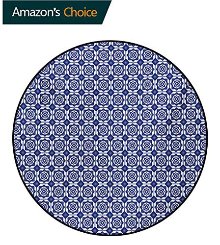 RUGSMAT Round Rug,Delft Style Geometric Pattern with Rhombuses and Hexagons Holland Design,Carpet Door Pad for Bedroom/Living Room/Balcony/Kitchen Mat Round-35 Inch Navy Blue and -