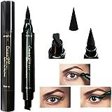 Samber 2 en 1 Delineadores de Ojos Waterproof para Maquillaje Profesional Delineadores Ojos Negro Gato de Doble Cabezas (S)