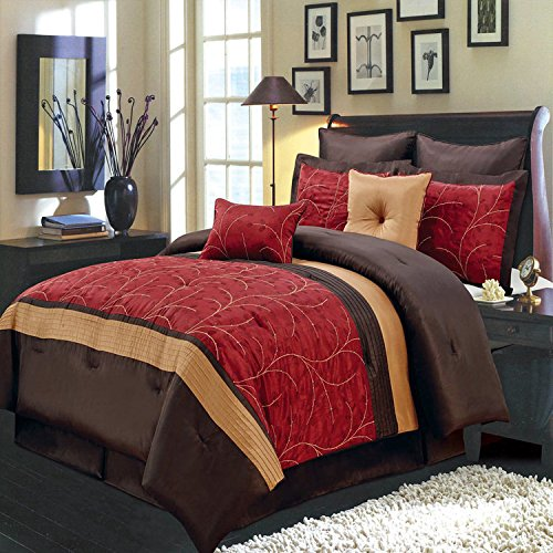 Olympic Queen Comforters - Experience the euphoria of bold elegance in this 8pc Olympic Queen Embroidered Atlantic comforter set; Red, Gold, and Brown colors accented by beautiful leafy embroidery over soft 100% Polyster fabric